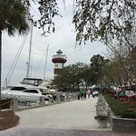 Barbour Towne marina walkway with lighthouse
