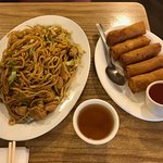 Chicken Chow Mein and spring rolls