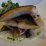 Seared diver scallops on chestnut cream and grilled apple. Branzino on frutta di mare. Ricotta w