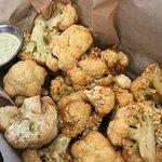 Cauliflower fries with pesto labane