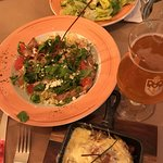 pasta with arugula & chicken, raclette, ceasar salad, local beer!