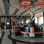 The hotel lobby, and lobby bar.