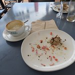 All that was left of our coffee and bruschetta...some crumbs and a crumpled serviette