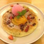 Pancakes, berries & ice cream.