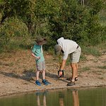 Our son learning about animal tracks at the watering hole. He loved the experience.
