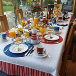 The breakfast room set up each morning