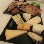 English cheese, lavoche, oat cakes, nut bread biscotti, grape chutney, celery
