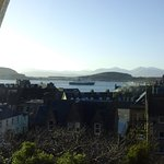 View over the town of the ferry to Mull, with Kerrera & Mull beyond