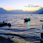 Water taxis at dusk on Lake Atitlan