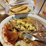 Chilaquiles with handmade corn tortillas