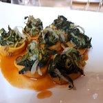 Tortelli mazzancolle ravioli caprino e spinaci piccione e mozzarella in pasta fillo