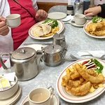 Large servings Fish and chips and salad where great.