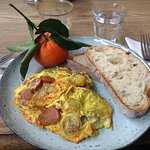 Sosis - a turkey sausage omlette with fried potatoes