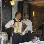 We had Alain play the accordion for the guests. The chef Robert and myself!