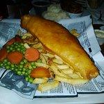 Fantastic Fish batter, peas carrots and fries