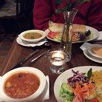 Kegdgeree, potato curry and masala dosai