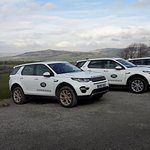 Stunning views with Lanrovers in front