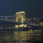The Lanchid (Chain Bridge), River Danube, Budapest - at night.