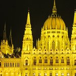 The Hungarian Parliament Building, from the River Danube, Budapest, at night