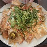 Nachos appetizer. Not enough cheese or salsa for all those chips