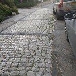 cobblestone streets.