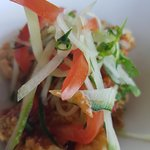 Calamari topped with veggies