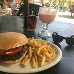 Beef Bacon Burger and a strawberry pineapple smoothie
