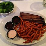 BBQ Brisket Platter w/sweet potato fries and steamed broccoli
