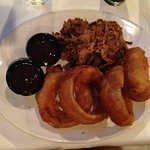 BBQ Pulled Pork Platter w/onion rings