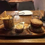 Beef burger, fries and coleslaw