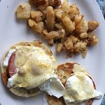 Eggs Benedict and skillet potatoes