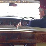 Vintage 1968 Rolls courtesy of the Palace, view from the back seat!