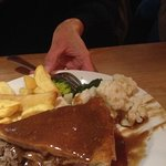 Steak and kidney pie and chips