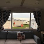 Lovely caravan with a sea view.