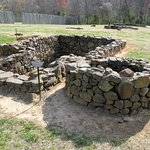 Several excavated foundations are seen at historic Bethabara Park.