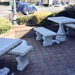 Patio area near noisy, busy Old Country Road