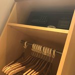 Hangers and safe in wardrobe