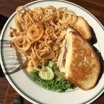Wood Grilled Chicken Breast with Braunschweiger & Haystack Onion Strings