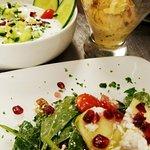 Spinach salad,  mast o khiar and Bastani!
