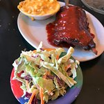Baby Back Ribs with Mac & Cheese and Coleslaw