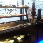 the dessert bar with chocolate fountain