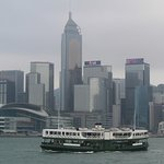The star ferry in front of the skyline