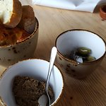 Bread, olives and tapenade.