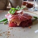 Second dish: foie gras with asparagus and iberian ham. Sooo good!