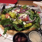 Delicious Greek Salad on deep dish crust 😋