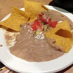 warm refried beans & queso dip