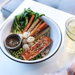Wholesale Health Bowl - Grilled Salmon, Brown Rice, Edamame, Bok Choy, Rainbow Carrots, Pearl On