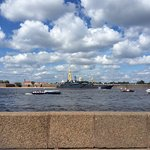 From back across the River Neva - they were preparing for Navy Day so some of the fleet were in.