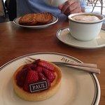 Dessert! Strawberry tart and Americano.