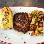 potato,steak and vegetable